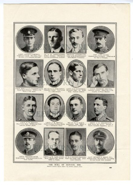 1916 WW1 Print ROLL OF HONOUR Lane-Joynt DONALD CAMPBELL Asquith LINTOTT Denistoun